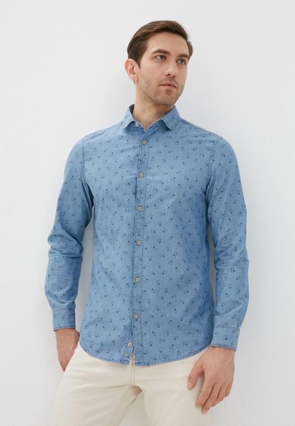 мужская джинсовые рубашка united colors of benetton, голубая
