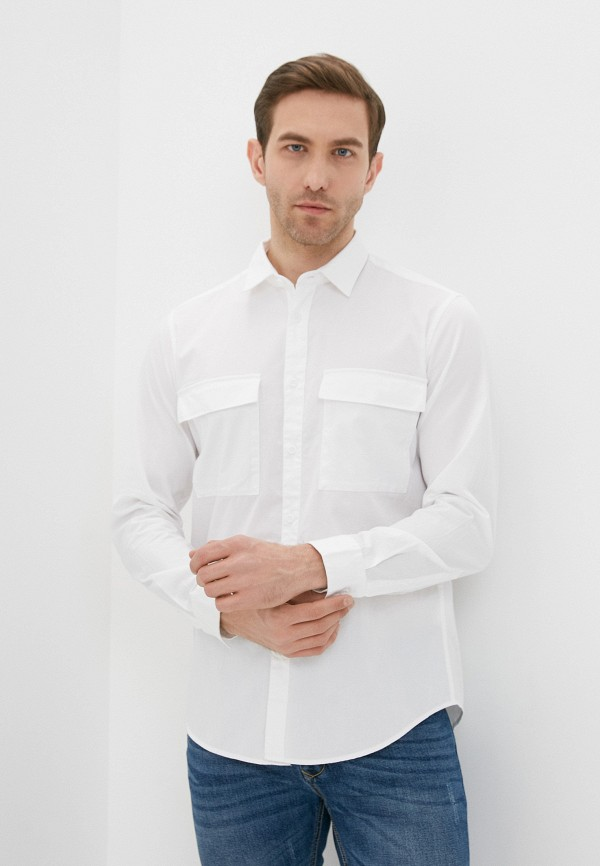 мужская рубашка с длинным рукавом united colors of benetton, белая