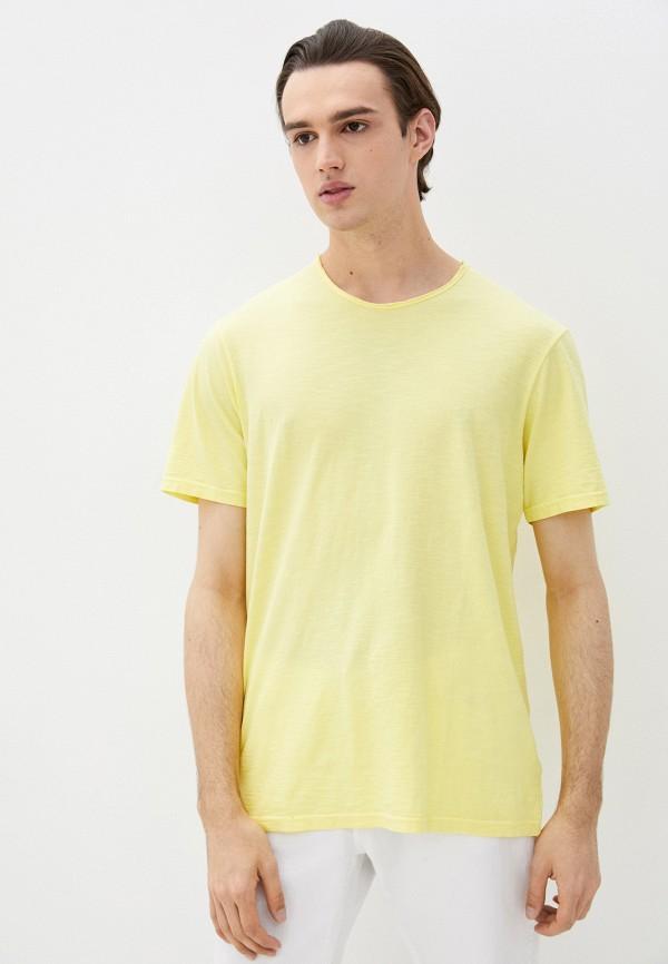 мужская футболка с коротким рукавом united colors of benetton, желтая