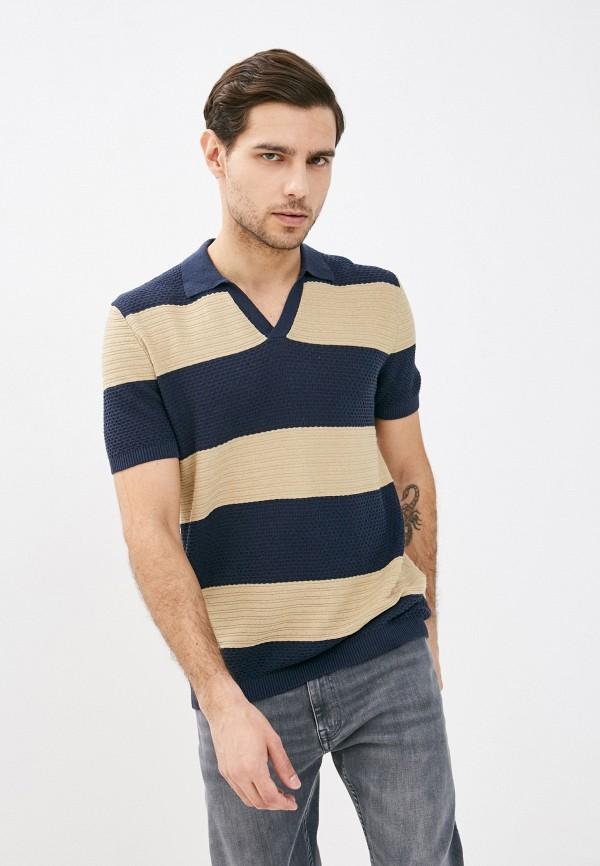 мужское поло с коротким рукавом united colors of benetton, синее