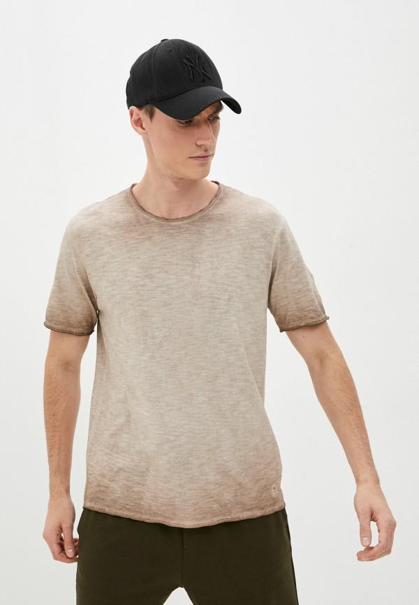 мужская футболка с коротким рукавом united colors of benetton, бежевая