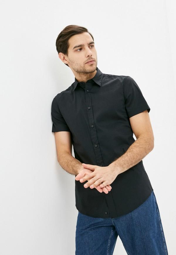 мужская рубашка с коротким рукавом united colors of benetton, черная