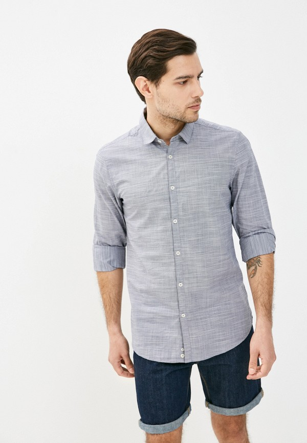 мужская рубашка с длинным рукавом united colors of benetton, серая