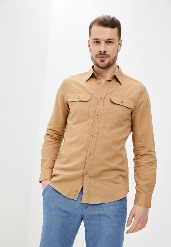 мужская рубашка с длинным рукавом united colors of benetton, коричневая