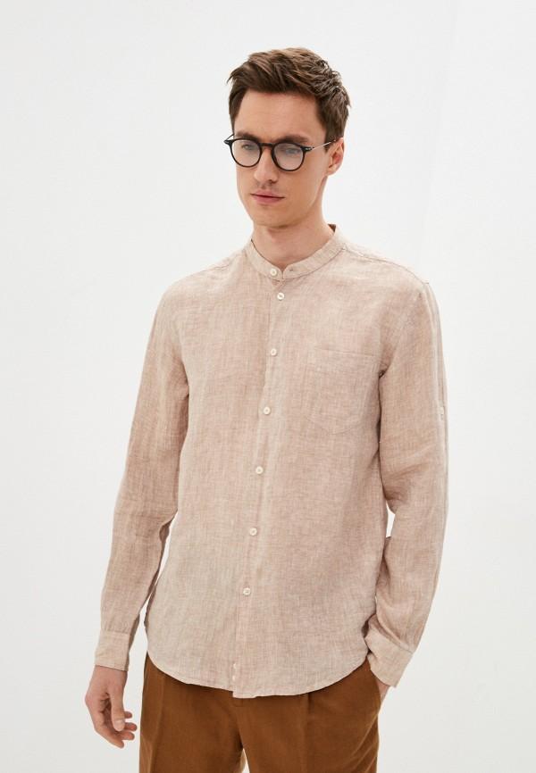 мужская рубашка с длинным рукавом united colors of benetton, бежевая