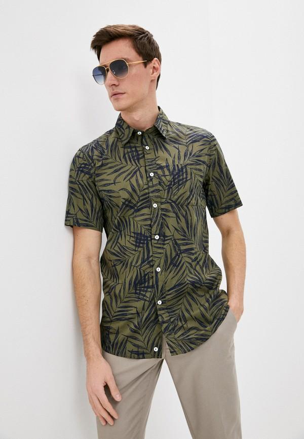 мужская рубашка с коротким рукавом united colors of benetton, хаки