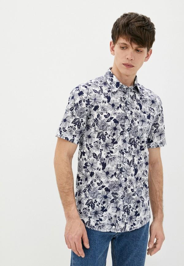 мужская рубашка с коротким рукавом united colors of benetton, синяя