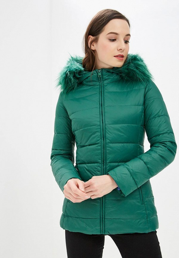 женский пуховик united colors of benetton, зеленый