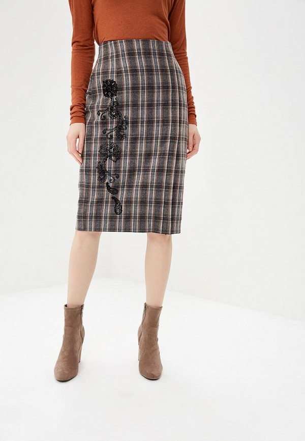 женская прямые юбка united colors of benetton, серая