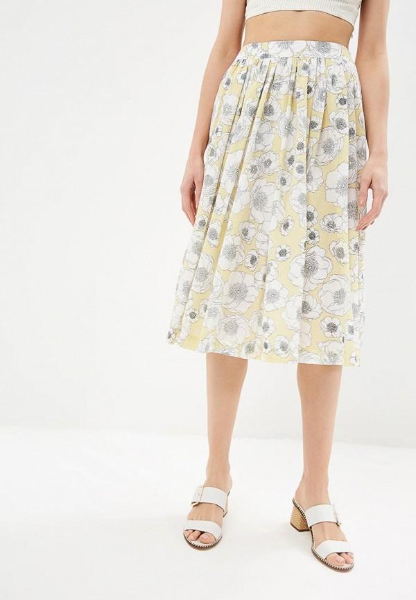 женская юбка united colors of benetton, желтая