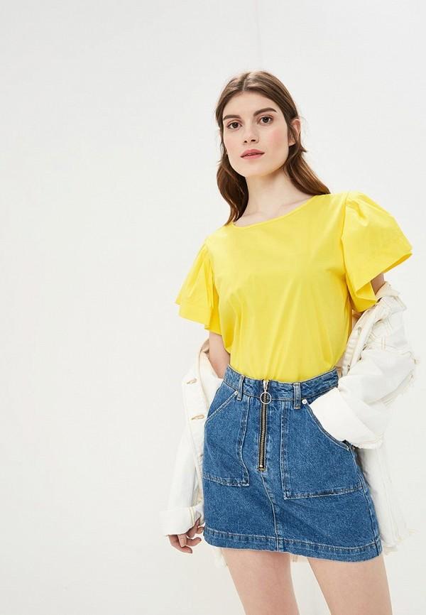 женская блузка united colors of benetton, желтая