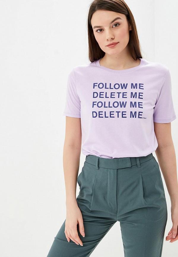 женская футболка united colors of benetton, фиолетовая
