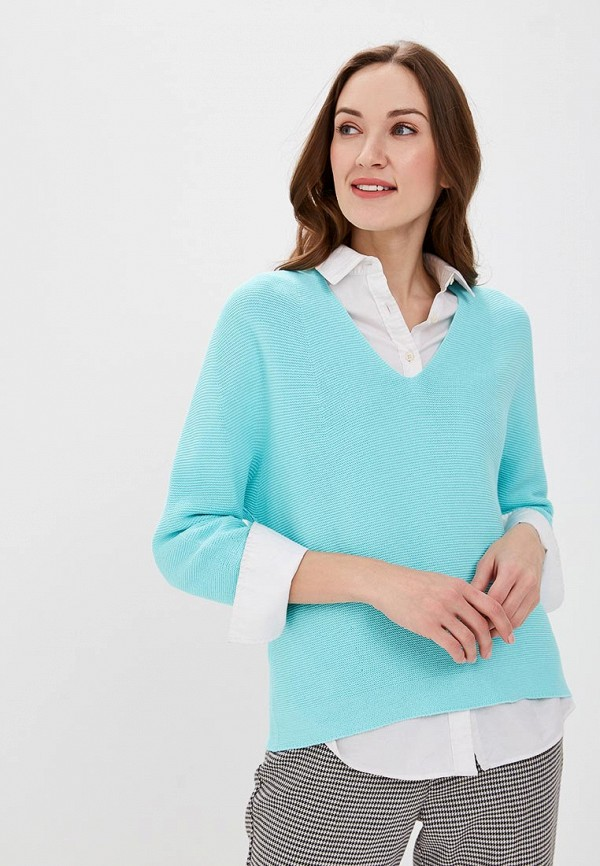 женский пуловер united colors of benetton, бирюзовый