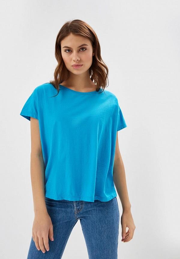 женская футболка united colors of benetton, голубая