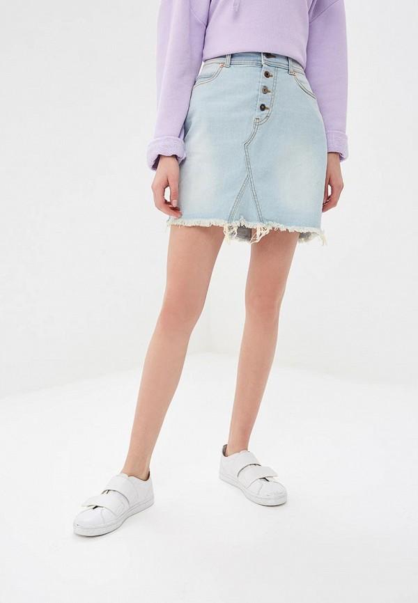женская джинсовые юбка united colors of benetton, голубая