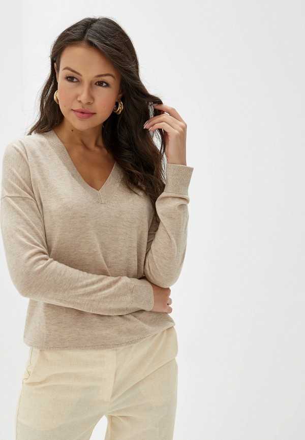 женский пуловер united colors of benetton, бежевый