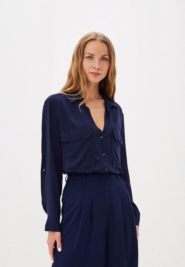 женская блузка united colors of benetton, синяя