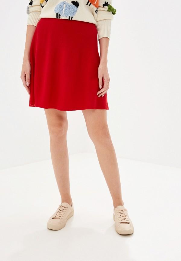 женская юбка united colors of benetton, красная