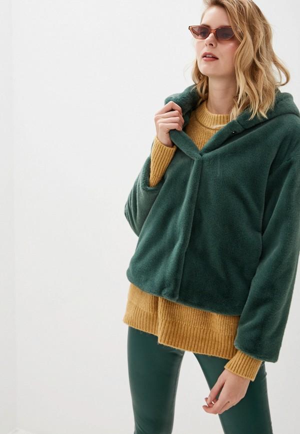 женская шуба united colors of benetton, зеленая