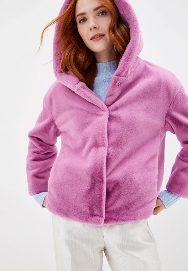 женская шуба united colors of benetton, фиолетовая