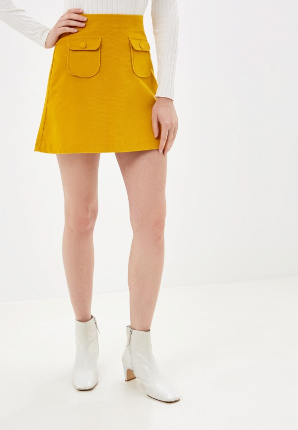 женская прямые юбка united colors of benetton, бежевая
