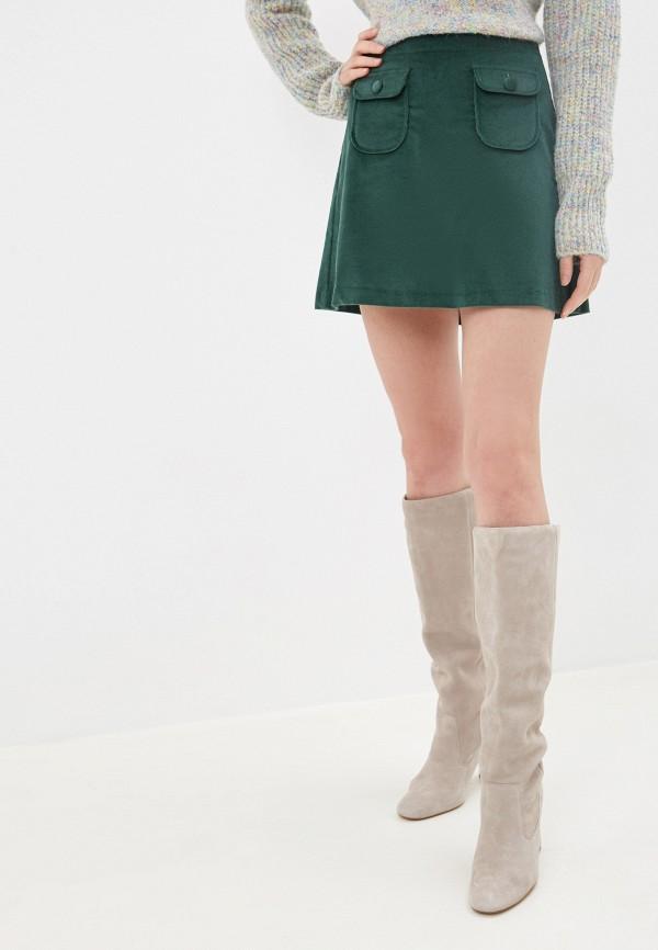 женская прямые юбка united colors of benetton, зеленая
