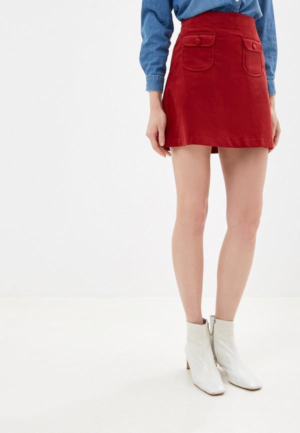 женская прямые юбка united colors of benetton, бордовая