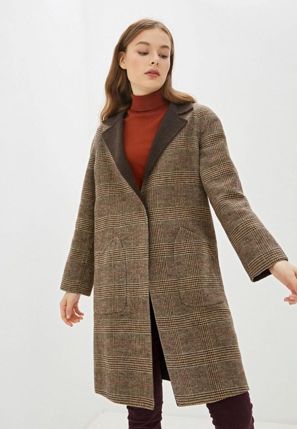 женское пальто united colors of benetton, коричневое