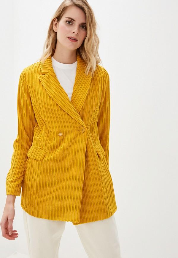женский пиджак united colors of benetton, желтый