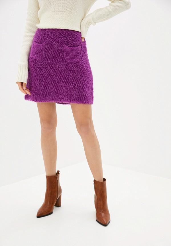 женская юбка united colors of benetton, фиолетовая