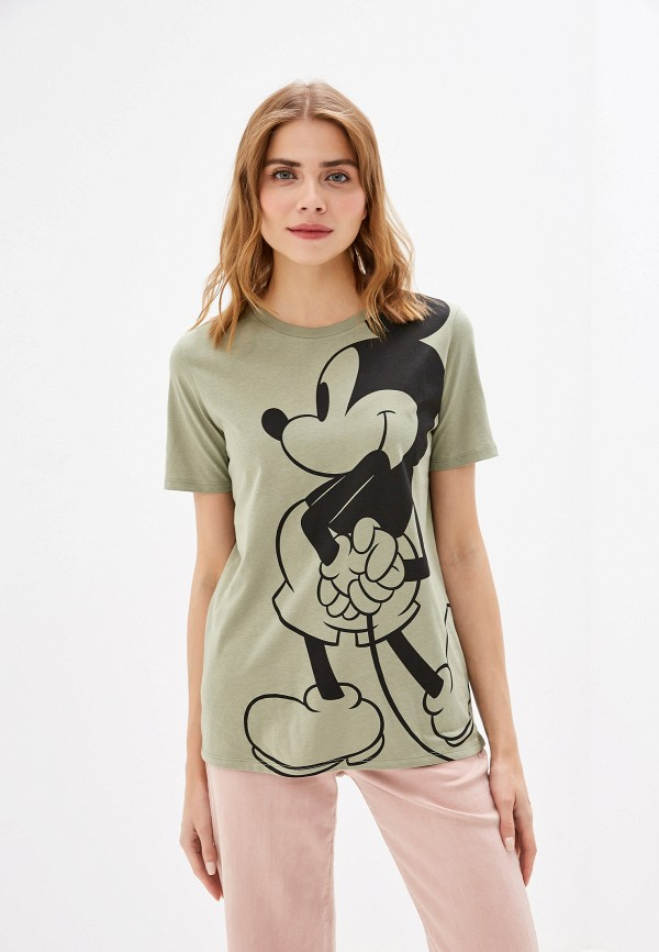 женская футболка united colors of benetton, хаки