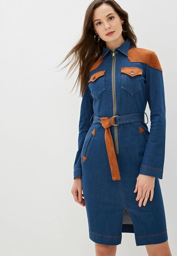 женское джинсовые платье united colors of benetton, синее
