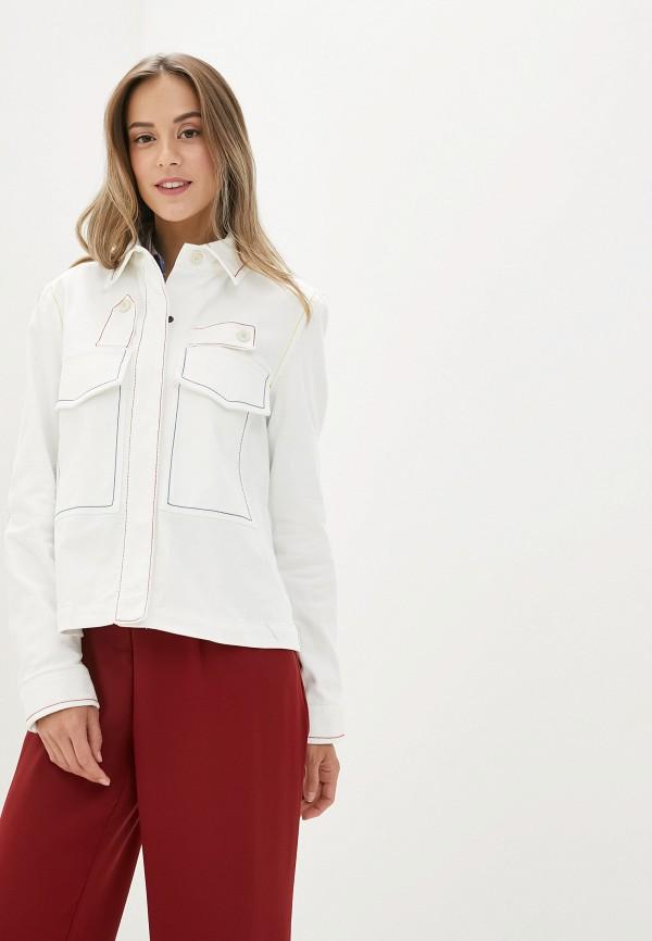 женская джинсовые куртка united colors of benetton, белая