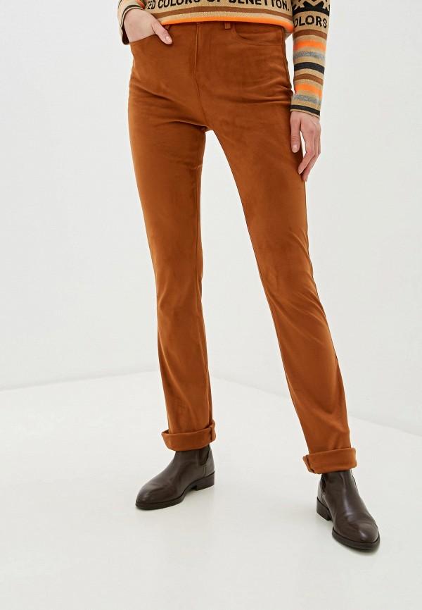 женские повседневные брюки united colors of benetton, коричневые
