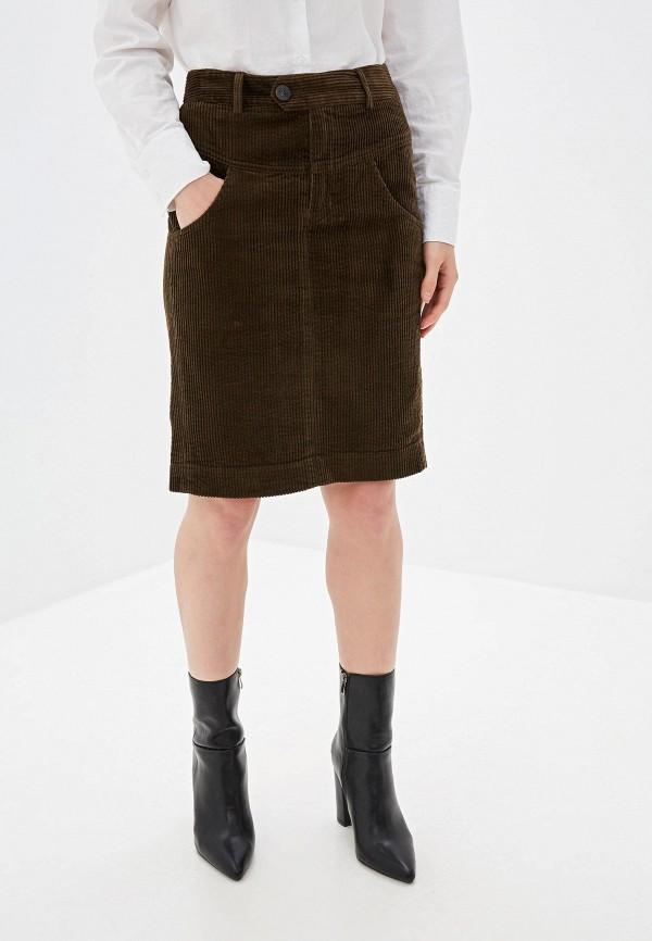 женская прямые юбка united colors of benetton, коричневая