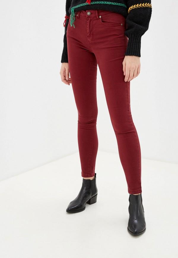 женские повседневные брюки united colors of benetton, бордовые