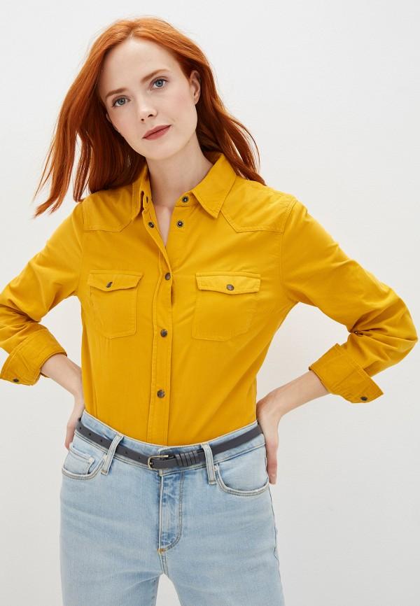 женская рубашка с длинным рукавом united colors of benetton, желтая