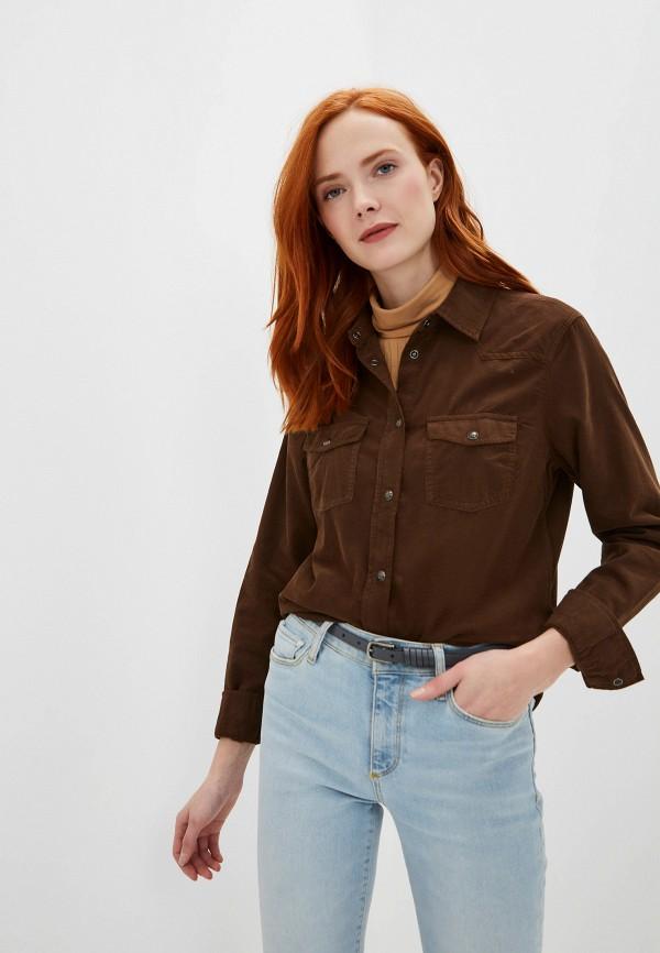 женская рубашка с длинным рукавом united colors of benetton, коричневая