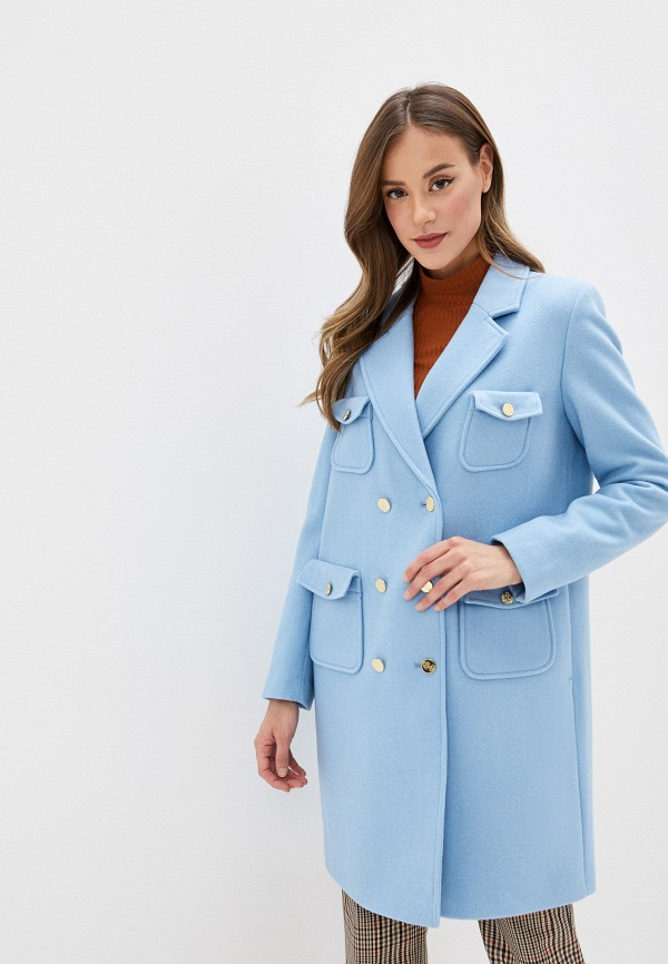 женское пальто united colors of benetton, голубое