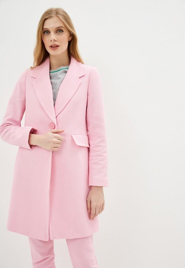 женское пальто united colors of benetton, розовое