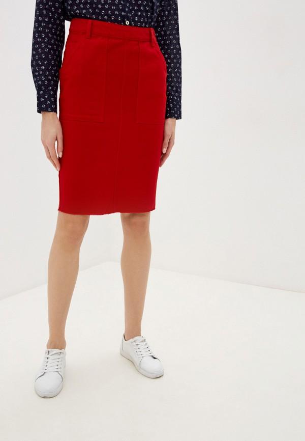 женская прямые юбка united colors of benetton, красная