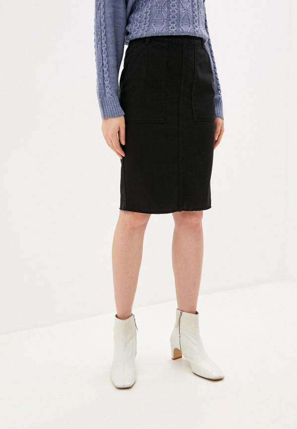 женская джинсовые юбка united colors of benetton, черная