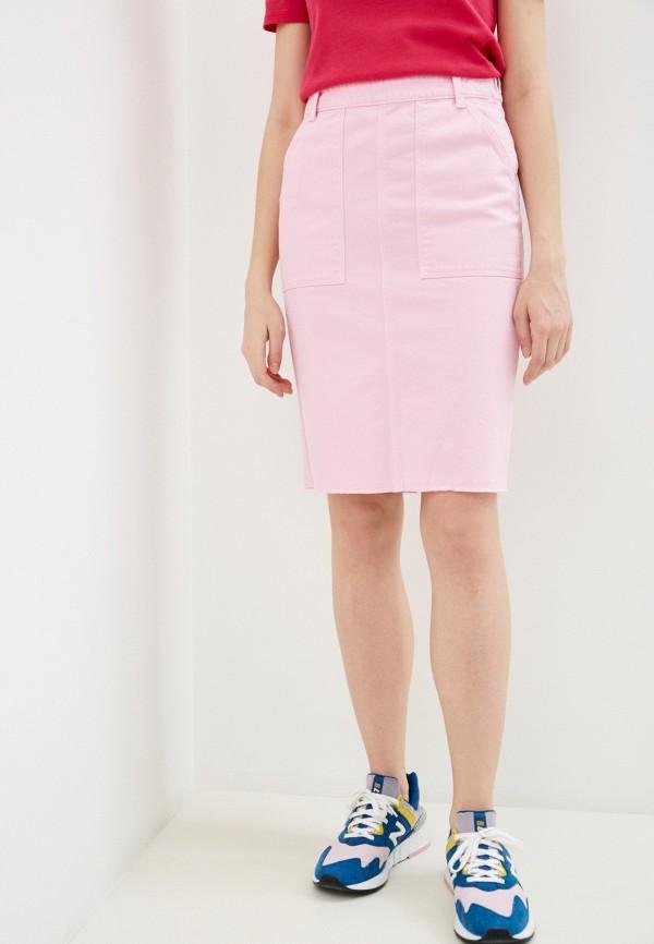 женская прямые юбка united colors of benetton, розовая