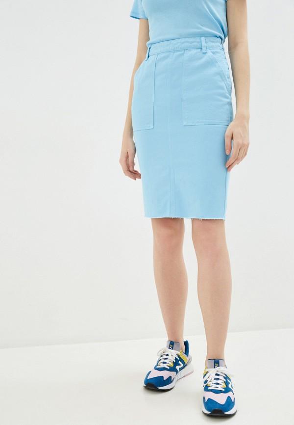 женская прямые юбка united colors of benetton, голубая