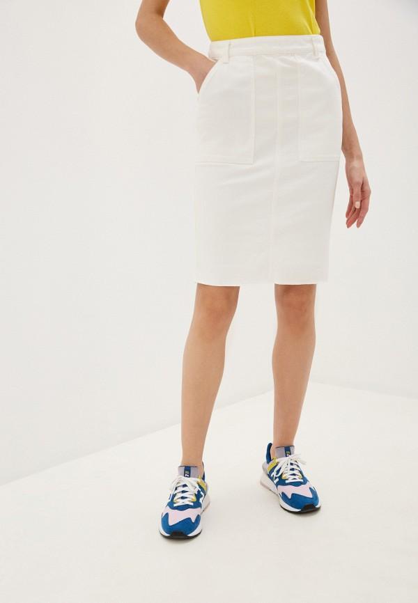 женская джинсовые юбка united colors of benetton, белая
