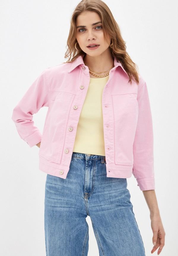 женская джинсовые куртка united colors of benetton, розовая