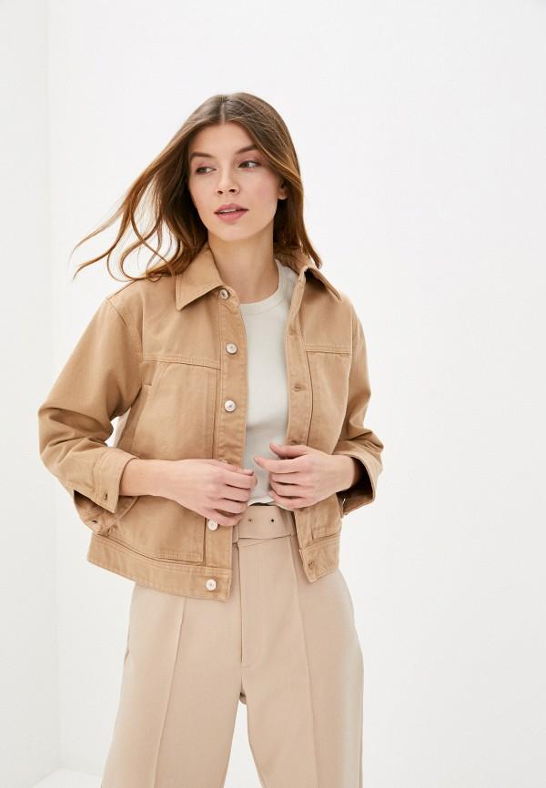 женская джинсовые куртка united colors of benetton, бежевая