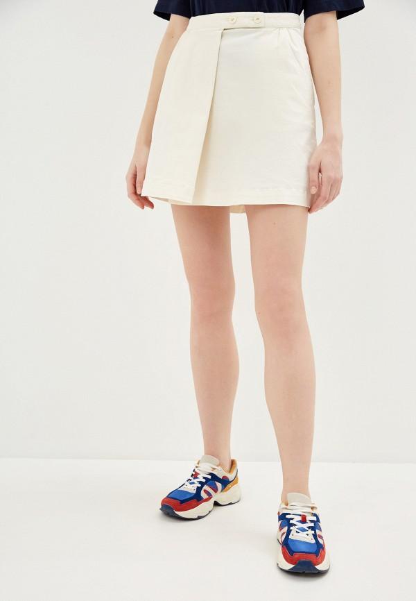 женская джинсовые юбка united colors of benetton, бежевая