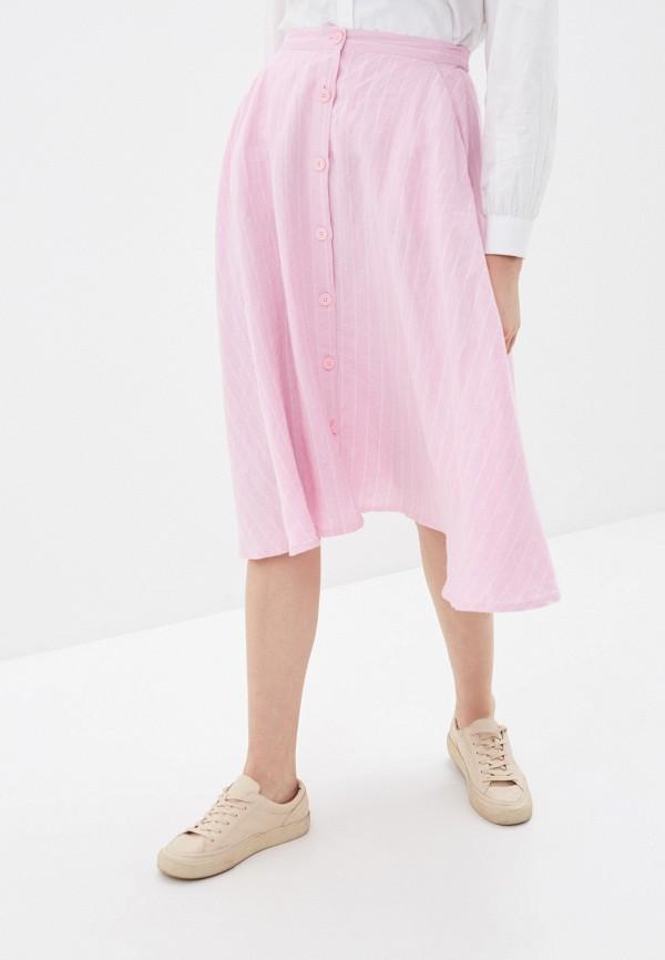 женская юбка-трапеции united colors of benetton, розовая