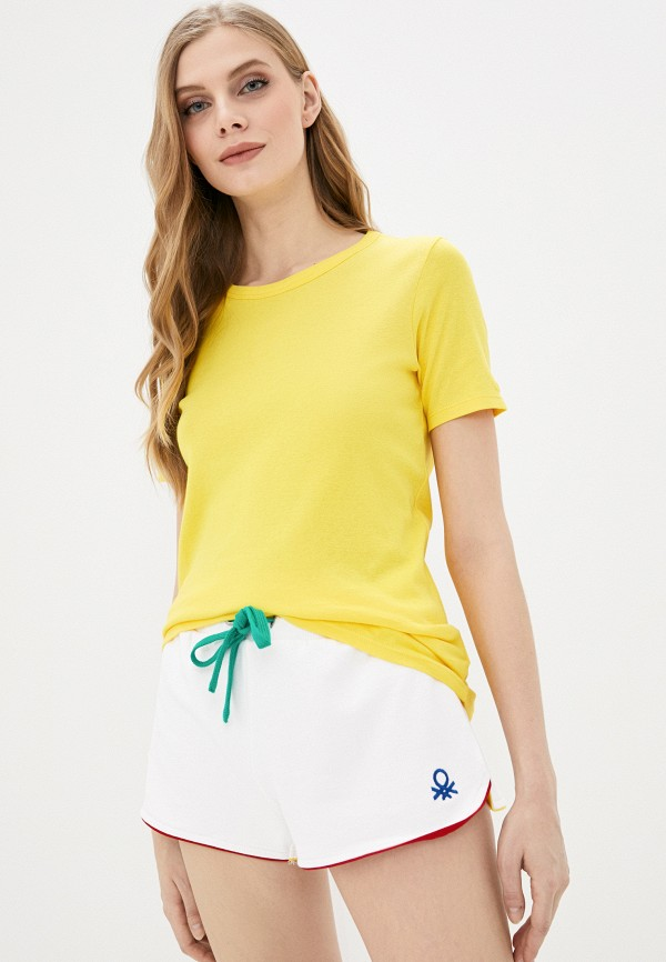 женская футболка united colors of benetton, желтая